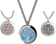mEssentials Tree of Life, Flower of Life and Wrought Iron Essential Oil Diffuser Necklace Stainless Steel Locket Pendants wi