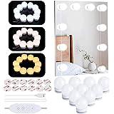 Luces para Espejo de Maquillaje LED Luces Tocador Estilo Hollywood, Luces LED Kit de Espejo con 10 Bombillas regulables 3 Mod