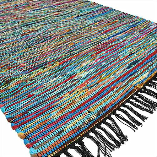 Eyes of India - 3 X 5 ft Blue Colorful CHINDI Woven Rag Rug Bohemian B