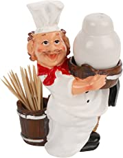 Chef Salt and Pepper Holder with Toothpick Holder