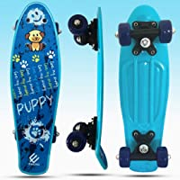 Baybee Plastic Skateboard with Colorful PU Wheels- Complete Cruiser Skate Board Ride On for Kids Boys and Girls, High Speed Bearings Outdoors (42 x 10 cm)