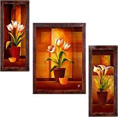 Ray Decor Set of 3 Framed Wall Painting (Size 5.9 inch x 13.39 inch, 10.24 inch x 13.39 inch, 5.9 inch x 13.39 inch, 3 Piece)