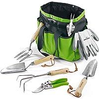 WORKPRO 7 Piece Garden Tools Set, Stainless Steel Hand Tools with Wooden Handle, Including Gloves, Trowel, Weeder, Hand fork, Hand Rake, Transplanter, Pruner and Garden Tote