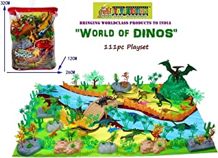 TOY-STATION - Exclusive Animal Play Sets (World of Dinosaurs - 111 PCS with Play MAT)