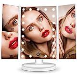 HAMSWAN Espejo de Mesa, [Regalos Para Madre] Espejo de Maquillaje Profesional Tríptico con Aumento 1x, 2X, 3X, Pantalla Tácti