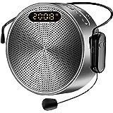Amplificador de Voz Portátil 15W Bluetooth Personal Pa System con Micrófono inalámbrico y Cable, Soporte TF/USB/AUX/Grabación