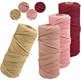 JeogYong Lot de 4 Corde Macramé 2mm x 100m Ficelle Naturelle Fil Macrame Coton Cordon Bricolage Cordelettes pour Tentures Mur