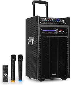 Auna Pro Disgo Box Dvd Mobile Pa Anlage Mit Integriertem Dvd Payer 300 W Max 2 X 10 25 5 Cm Subwoofer Bluetooth Usb Sd Slot Drahtloses Uhf Funk Mikrofon Akku Fernbedienung Schwarz Musikinstrumente