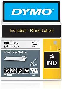 Dymo Rhino Band Industrie Nylonetiketten 19 Mm X 3 5 M Schwarz Weiß Bürobedarf Schreibwaren