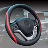 ZATOOTO Steering Wheel Cover Leather - Car Steering Wheel Covers 38cm /15inch, Anti-slip, Universal, Red