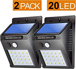 Citra 20 LED Solar Motion Sensor Light,Outdoor Weatherproof for Driveway Garden Path Yard-2 Pack