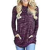 Donna Felpa Manica Lunga con Collo Alto e Coulisse Sweatshirt Pullover Top