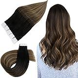 Easyouth Tape in Extensions Haarverlenging Skin Weft 12inch 30g Kleur 1B/6/27 Off Black Vervagend tot Kastanjebruin mix met H