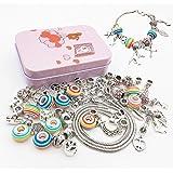 Queta Pulsera de Plata Pulsera para niña Kit de fabricación de Joyas para niña con Cuentas Juego de Regalo para niña 8-12 año