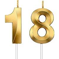 Hicarer 2 Pièces Bougie Numérique Bougies à Paillettes d'or Bougies Décoratives de Gâteau d'anniversaire Décoration de…