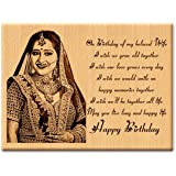 Incredible Gifts India Unique Personalized Engraved Photo Plaque Gift For Wife (6 x 8 inches, Wood, Beige)