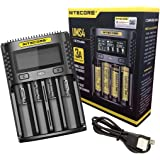 Nitecore Universele oplader UMS4 3000 mA USB voor volwassenen, uniseks, zwart, L 159 x B 107 x H 41