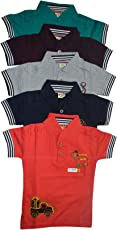 Mysilk Saree Boy's Cotton T-Shirt - Pack of 5