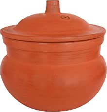 Mitti Magic Steaming 2L Brown Handmade and Unglazed Clay Pot for Cooking Rice / Curry / Dal / Sambar / Boiling Vegetables