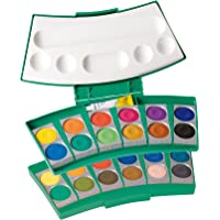 Pelikan 724344 - Deckfarbkasten ProColor, 24 Farben, inkl. 1 Tube Deckweiß, grün