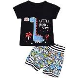 Borlai - Juego de ropa de algodón para bebé (2 piezas), diseño de dinosaurio, para verano, camiseta y pantalones cortos para