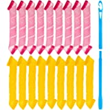 JRing Silicone Hair Curlers with Styling Hook Magic Hair Rollers, 18 No Heat Hair Curlers Spiral Curls Styling Kit for Men/Wo