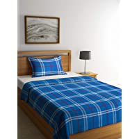 Klotthe Blue Cotton Single Bed Cover with Pillow Cover