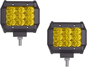 AllExtreme 9 LED Fog Light Cube Bar with Spot Flood Beam for Motorcycle, Car and Bike (Yellow, Pack of 2)