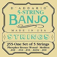 D'Addario J55 5-String Banjo Strings, Phosphor Bronze, Medium, 10-23