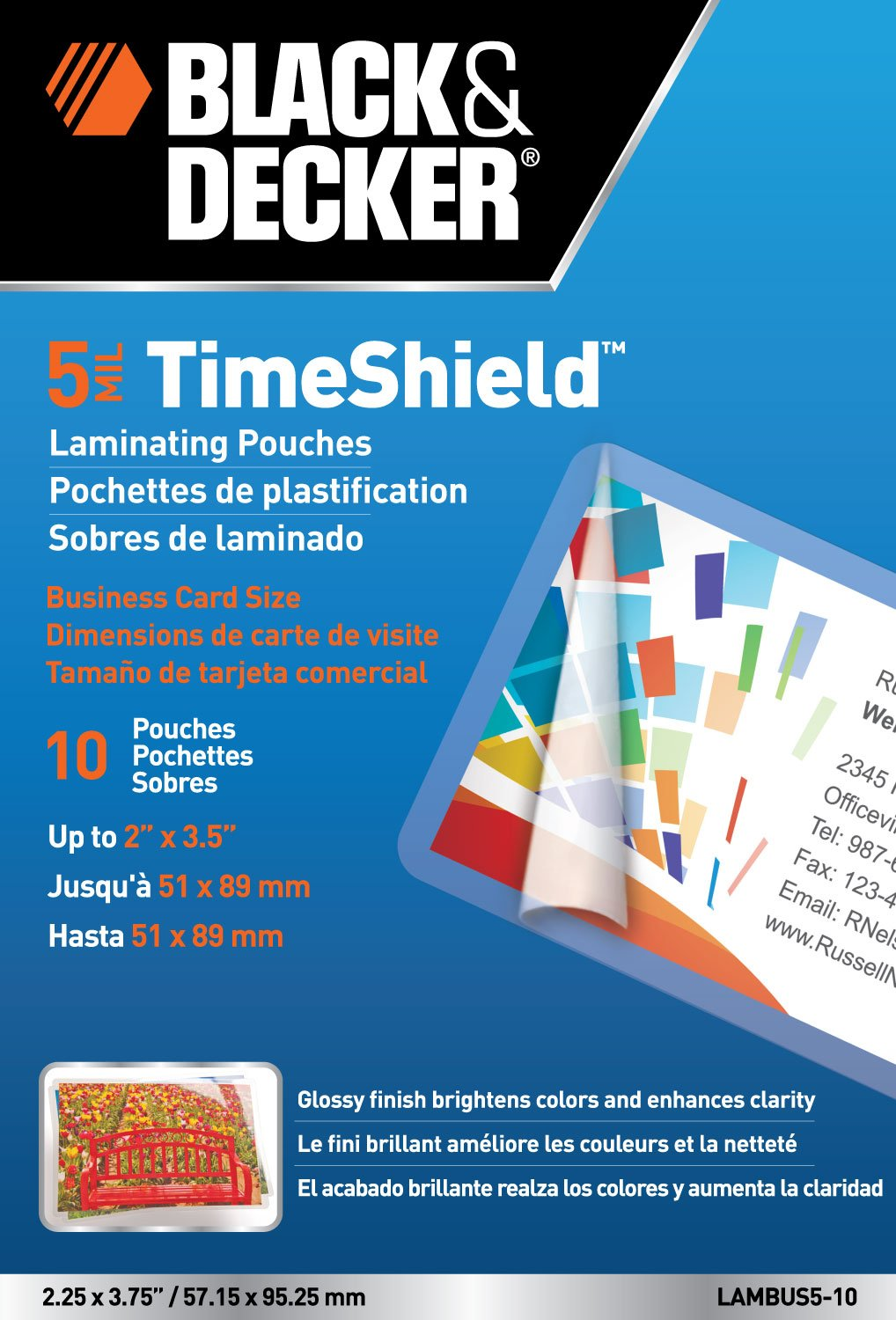 Black and Decker TimeShield Thermal Laminating Pouches, Business ...