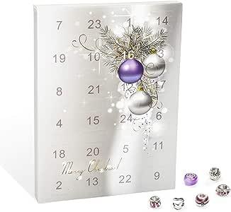 VALIOSA Mode Schmuck Adventskalender,Merry Christmas' mit Halskette, Armband + 22 individuelle Perlen Anhänger aus Glas und Metall, lila, das