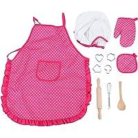 Zerodis Ensemble de cuisine pour enfants - Pour faire plaisir - Avec tablier - Pour filles, chapeau de chef et autres…