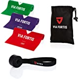 VIA FORTIS Träningsband set inklusive dörrankare och väska – 3 träningsband i olika tjocklekar för yoga, muskelbyggnad, gymna