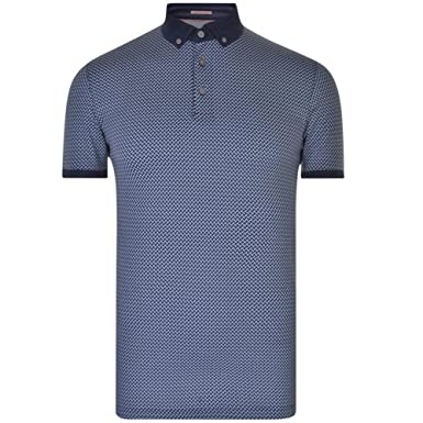 f0c6e34e5 Ted Baker Fliyte Rectangle Geo Print Cotton Polo Shirt - Navy   Amazon.co.uk  Clothing