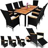 Deuba Poly Rattan Sitzgruppe 8+1 Schwarz   7cm Dicke Auflagen   Tisch & Armlehnen Holz   Neigbare Fuß-/ Rückenlehnen Set
