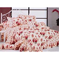 Gifty Cotton Double Luxurious Comforter and Queen Size Bedsheets with 2 Frill Pillow Covers (Pink)
