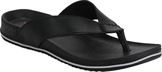 DzVR Men's And Boy's Black Slippers And Flip Flops
