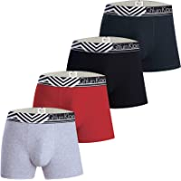 Mens Boxer Briefs Underwear with Premium Cotton – Large Y Front – 4-Pack Multicoloured – Italian Design Trunks