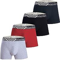 Mens Boxer Briefs Underwear with Premium Cotton – Large Y Front – 4-Pack Multicoloured – Italian Design Trunks