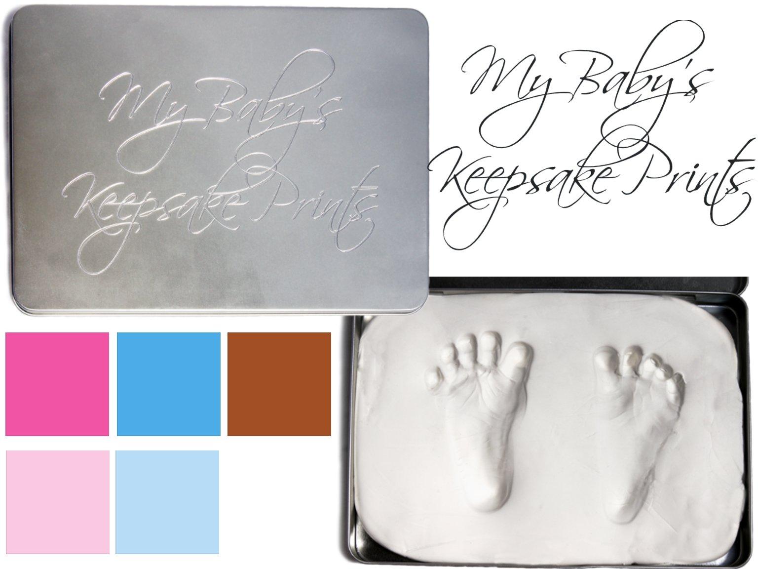 BabyRice - Kit con arcilla para las primeras huellas del niño, caja de lata, Brown (Brown Arcilla Ma