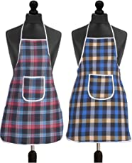 Yellow Weaves Check Design Waterproof Cotton Kitchen Aprons, 20x 30-Inch (Multicolour, WI1852)-Pack of 2