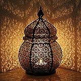 albena shop 71-4956 Teja Oriental Fer Lanterne de Jardin 35cm Style marocain métal Noir/intérieur d'or
