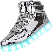 PADGENE LED Chaussures Baskets pour Unisex, Chaussures de Sport Homme Femme Montantes Basket Mode à LED Lumière…