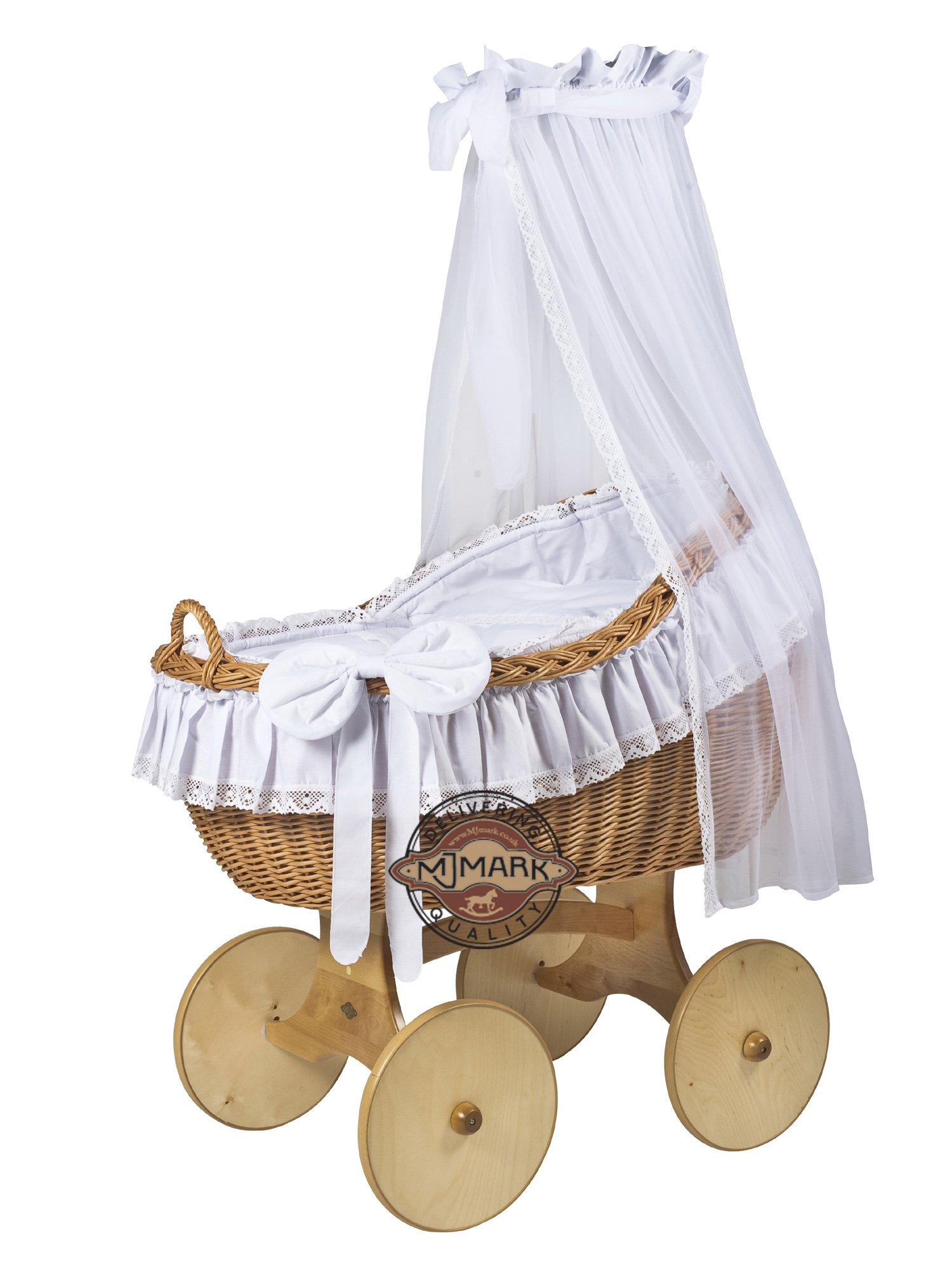"""Brand New Wicker Crib Moses Basket Cot """"BIANCA ANT WHITE"""" incl. Bedding, Mattress,Floor Standing Drape  Solid, Large wicker crib (MADE IN EUROPE) Handmade nature wicker basket Dimensions: L:90cm; W:60cm; H:85cm 1"""