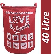 HOMIZE Multipurpose Foldable Drawstring Laundry Bag Hamper Basket