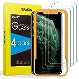 SPARIN 4-pack skärmskydd kompatibelt med iPhone 11 Pro, iPhone XS, iPhone X, 14 cm härdat glas skärmskydd med enkelt installa
