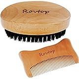 Rovtop Barbe Peigne Barbe Brosse à Poil de Sanglier Naturel Brosse Barbe Kit d'Entretien le Soin de la Barbe de l'homme