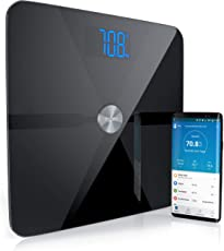 Mybeo - Bluetooth Körperfettwaage | Digitale Multifunktionswaage | Körperanalysewaage mit App | für iOS und Android | Bestimmung von BMI, Körperfett, Wasserprozentanteil, Muskelanteil, Knochenmasse u.v.m. | Max. 180 kg | 4 DMS Präzisionssensoren | Gewichtseinheiten: kg, lb, st | schwarz