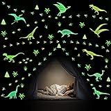 KAIRNE Stickers Muraux Dinosaures Lumineux,Autocollant Muraux Dinosaures Pour Chambre D'enfant/Bébé,Stickers Mural Empreinte