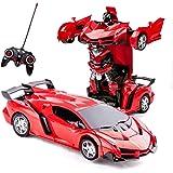 Highttoy Fjärrkontroll bil, RC transformerande robot billeksaker för 5-12 år gamla pojkar flickor gåvor 2-i-1 fjärrkontroll d